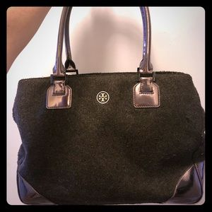 Tory Burch wool leather tote